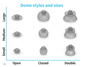Audicus provides a nice selection of different size and style ear domes to accommodate individual needs.Audicus provides a nice selection of different size and style ear domes to accommodate individual needs.